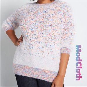 Modcloth Oversized Fuzzy Rainbow Confetti Sweater